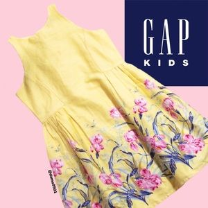 NWT Gap Kids Yellow Floral Border Sleeveless Dress